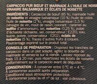 Carpaccio de boeuf et sa marinadehuile de noisette / vinaigre balsamique 18 tranches - Ingrediënten - fr