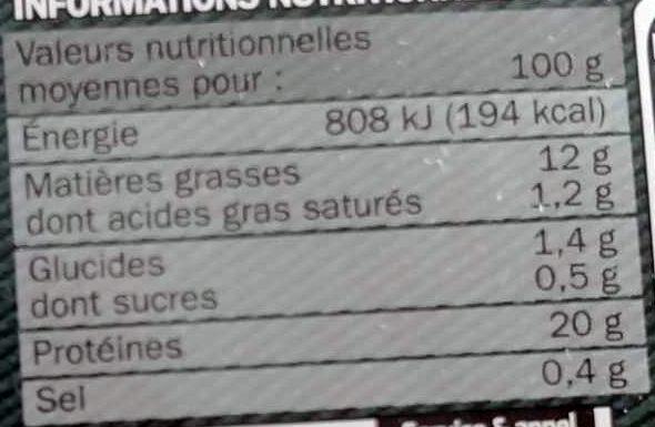 Carpaccio de boeuf et sa marinadehuile de noisette / vinaigre balsamique 18 tranches - Voedingswaarden - fr