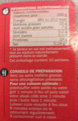 Steaks hachés 15% Mat. Gr. - Nutrition facts - fr