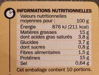 Hachés à l'oignon x 10 - Nutrition facts