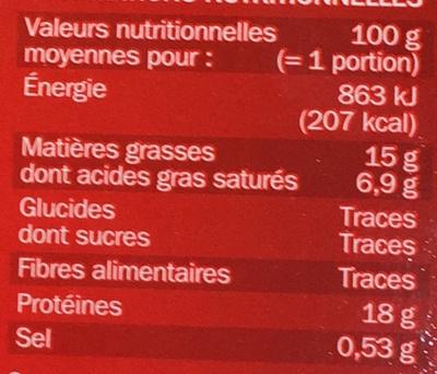 Haché super tendre x 10 - Informations nutritionnelles