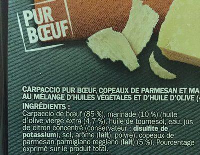Carpaccio de boeuf et sa marinade huile d'olive / huile de colza au parmesan 18 tranches - Ingrediënten