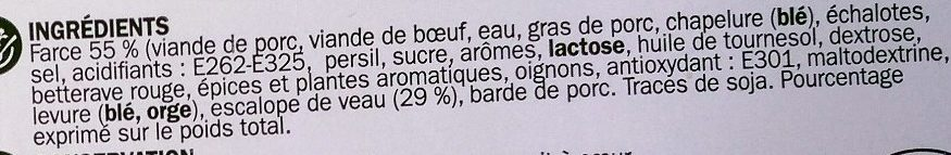 Paupiettes de veau x 6 - Ingredients