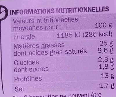 Paupiettes de veau x 6 - Nutrition facts