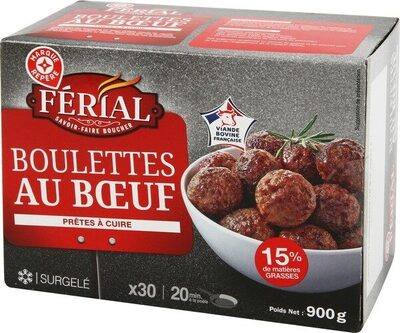 Boulettes au boeuf 15% Mat. Gr. x 30 - Produit - fr