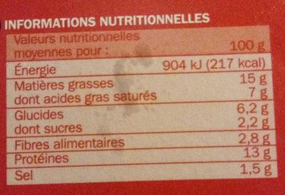 Boulettes au boeuf 15% Mat. Gr. x 30 - Informations nutritionnelles - fr