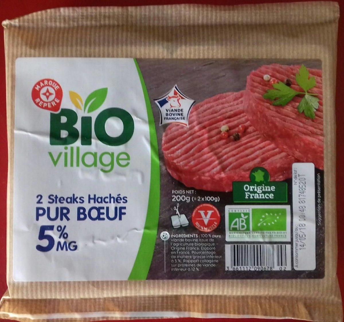 2 steaks hachés pur bœuf (5% MG) - Produit - fr