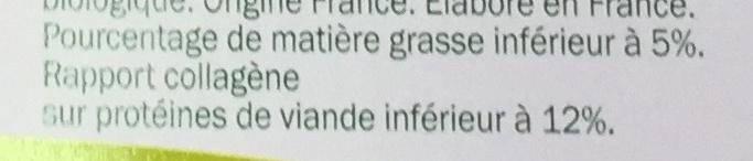 2 steaks hachés pur bœuf (5% MG) - Informations nutritionnelles - fr