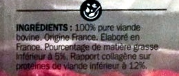 Viande Hachée Pur Bœuf 5% MG - Ingrédients