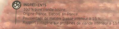 Boeuf Haché (85% de Maigre / 15% de Matières Grasses) - Ingredients