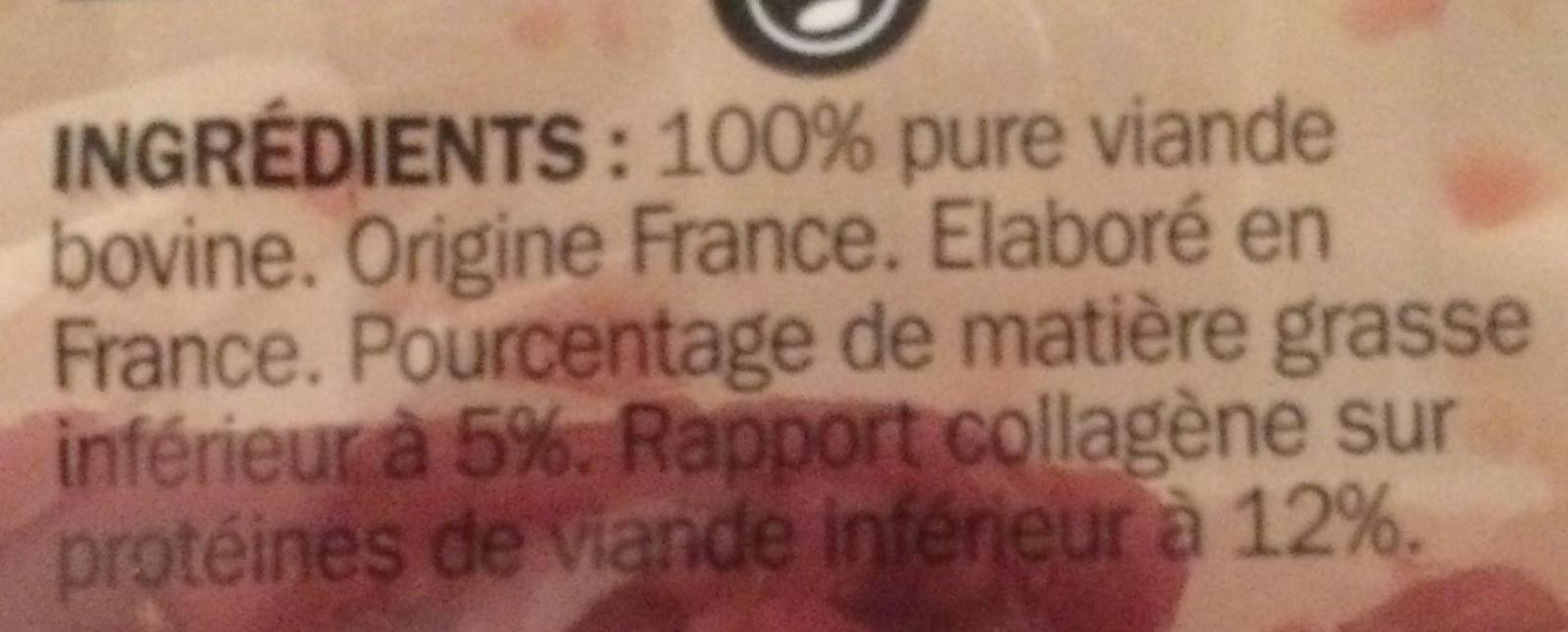 Viande Hachée Pur Bœuf 5% MG - Férial - 350g - Ingrédients - fr