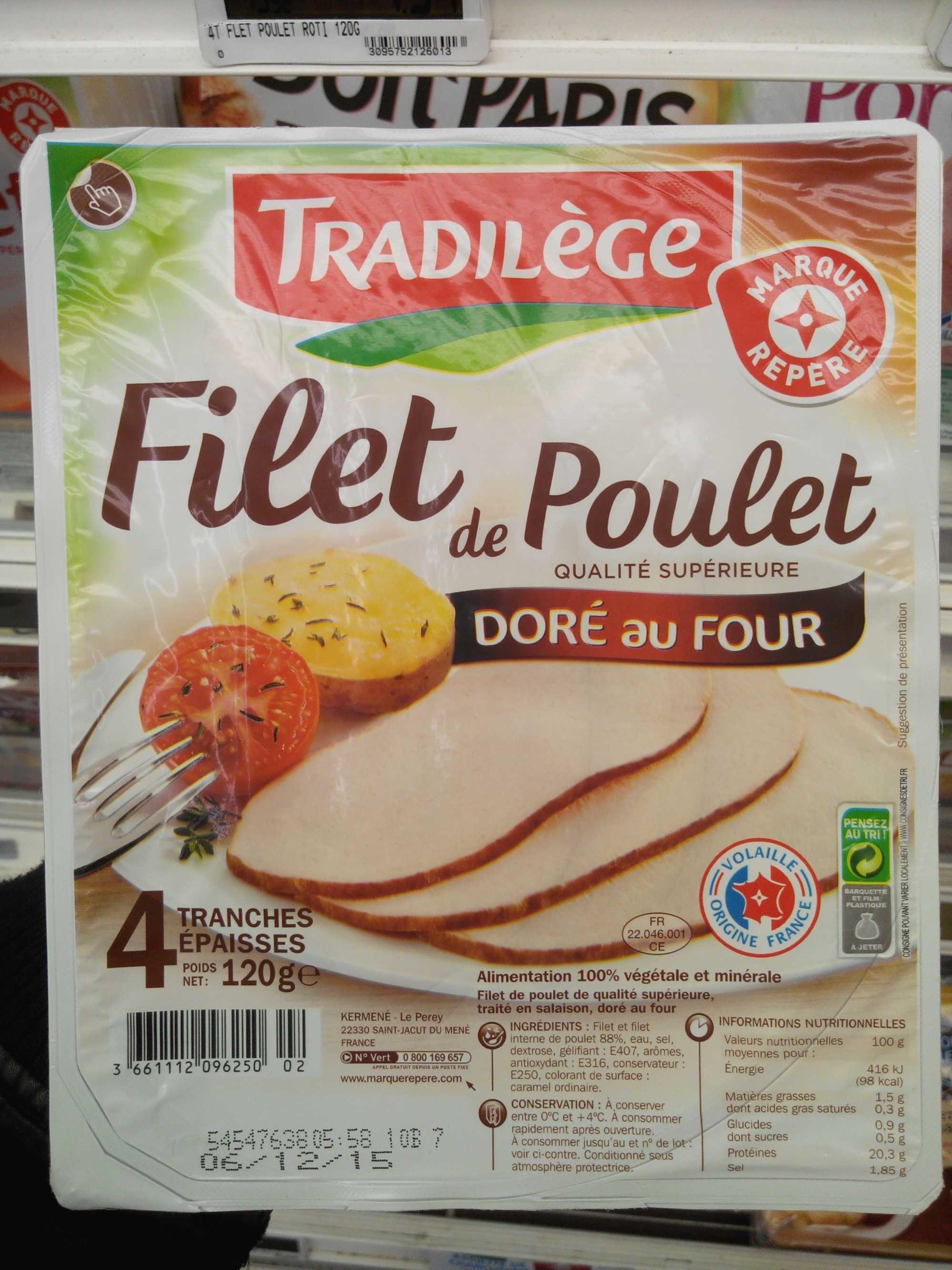 Filet de poulet tradil ge 120 g - Filet de poulet au four ...