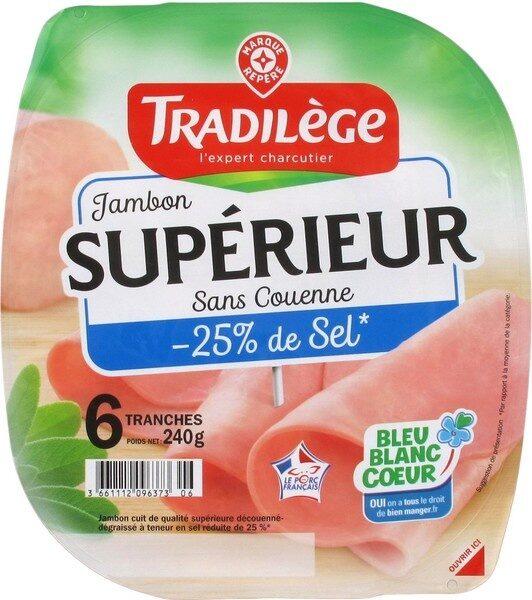 Jambon supérieur découenné dégraissé -25% de sel x 6 tranches - Product - fr