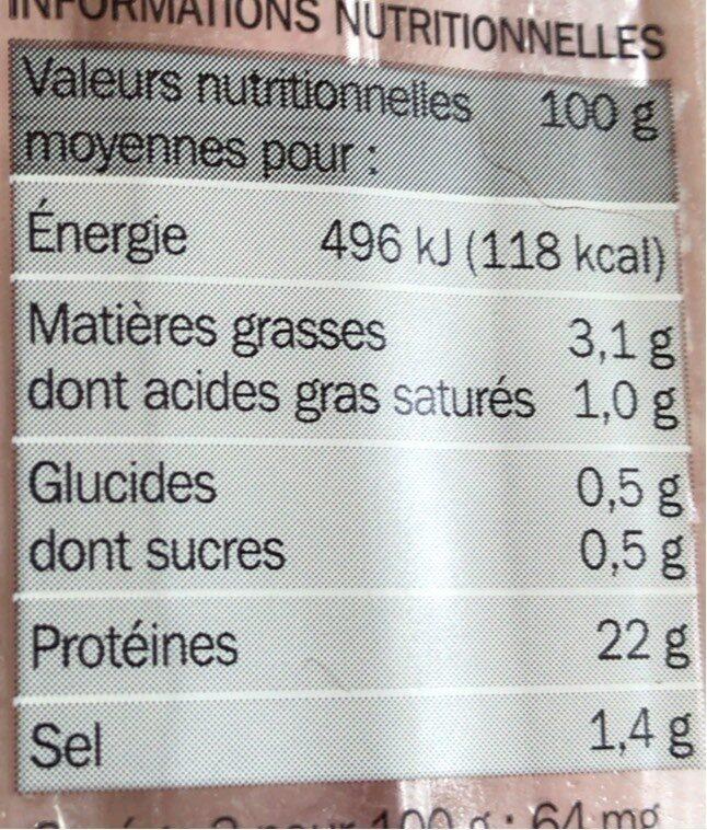 Jambon supérieur découenné dégraissé -25% de sel x 6 tranches - Voedingswaarden - fr
