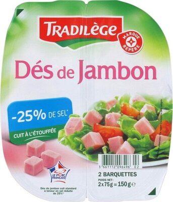 Dés de jambon - 25% de sel 2 x 75 g - Produit - fr