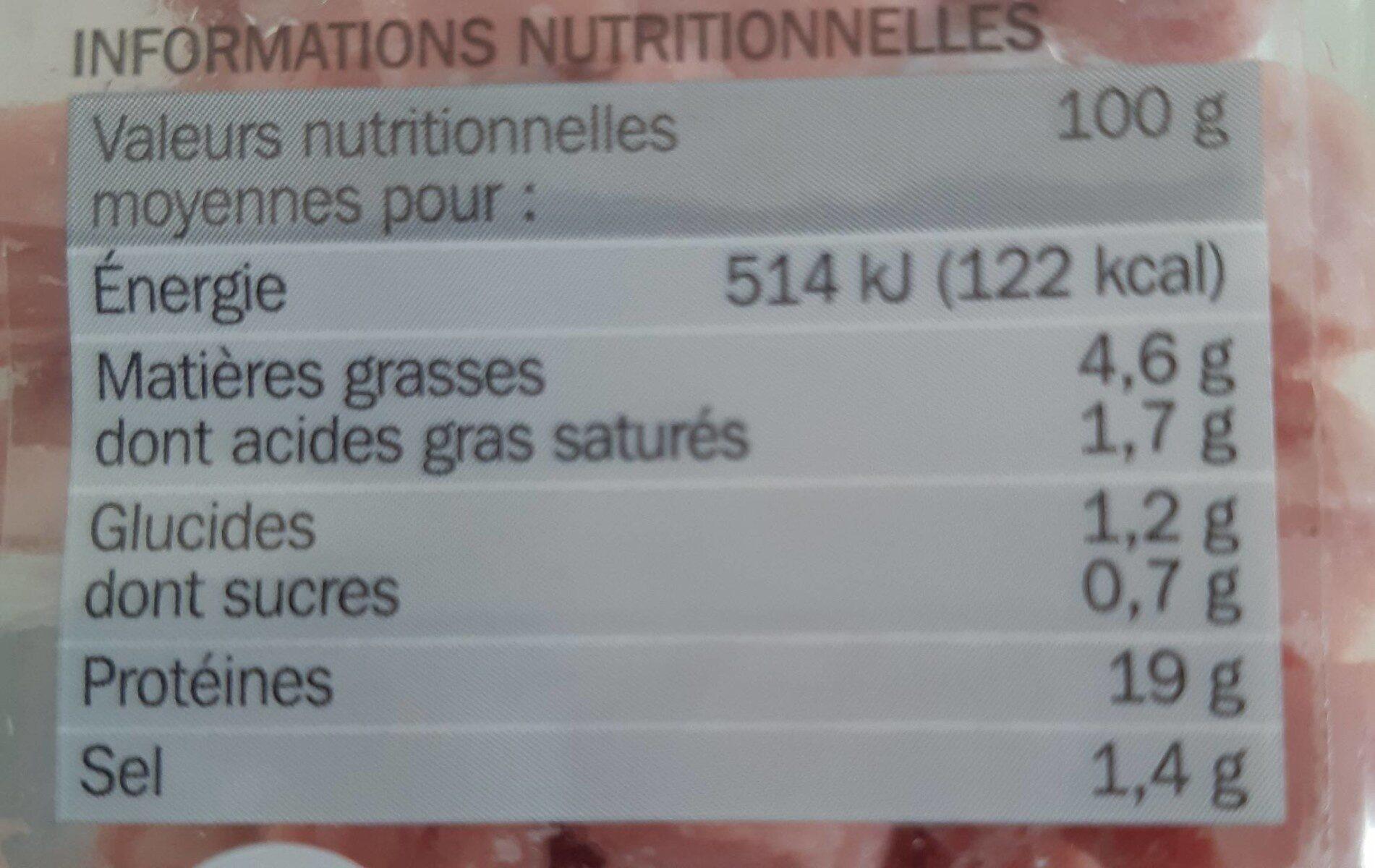 Dés de jambon - 25% de sel 2 x 75 g - Informations nutritionnelles - fr