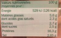 Dés de jambon maxi format 2 x 125 g - Informations nutritionnelles - fr