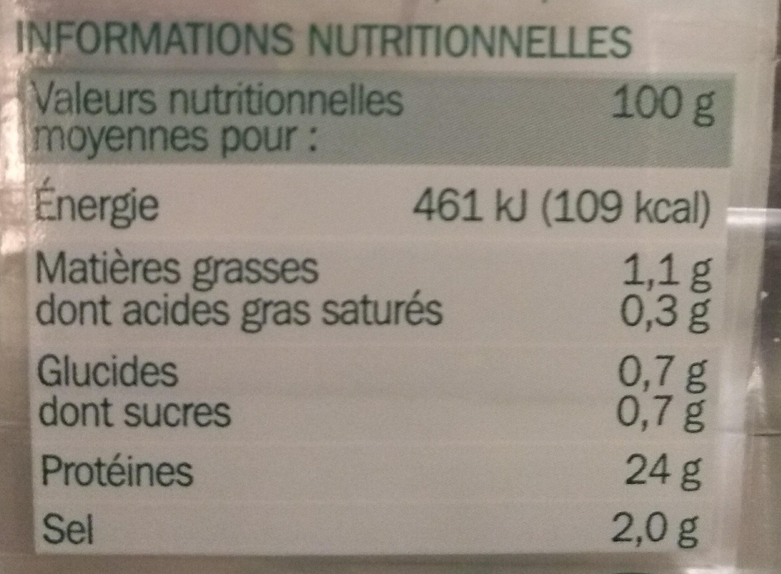 Aiguillettes de poulet grillé 2 x 75 g - Informations nutritionnelles