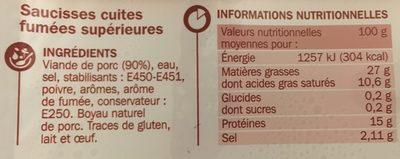 Saucisse fumée Tradilège VPF x3 - Ingrédients