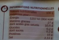 Saucisse fumée Tradilège VPF x3 - Nutrition facts