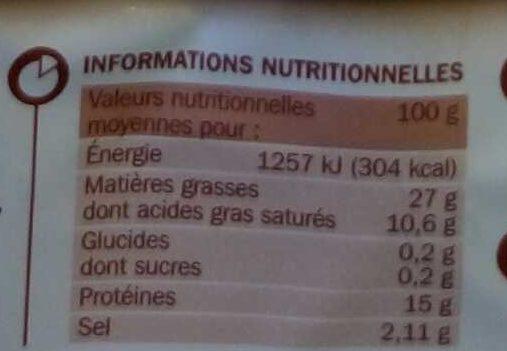 Saucisse fumée Tradilège VPF x3 - Informations nutritionnelles