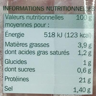 Jambon de Paris supérieur 25% de sel en moins x 4 tranches - Nutrition facts