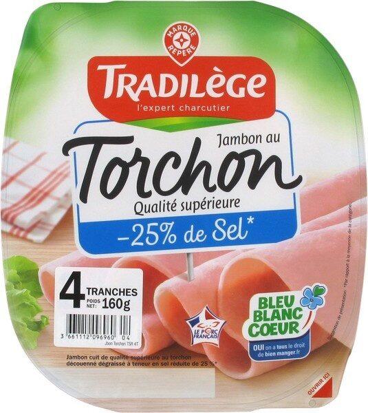 Jambon supérieur au torchon sans couenne 25% de sel en moins 4 tranches - Produit