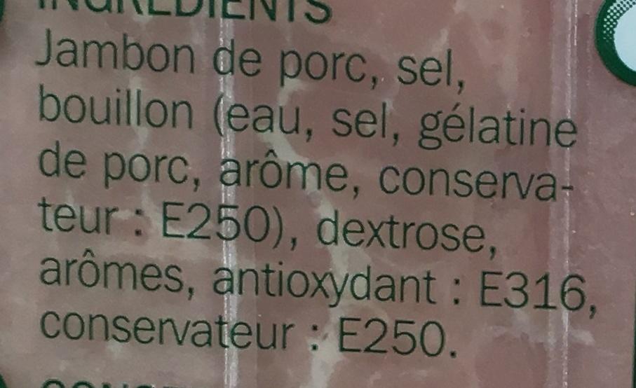 Jambon supérieur au torchon sans couenne 25% de sel en moins 4 tranches - Ingrédients