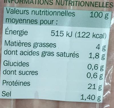 Jambon supérieur au torchon sans couenne 25% de sel en moins 4 tranches - Nutrition facts