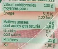 Jambon au torchon sans couenne - Voedingswaarden - fr