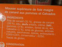 Gourmandise de canard aux pommes et calvados - Ingrediënten