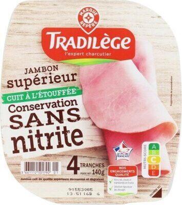 Jambon supérieur cuit à l'étouffee sans nitrite - Product - fr