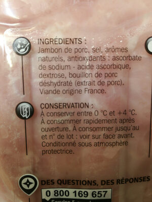 Jambon sup dd 6t sans nitrites - Ingredients - fr