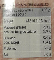 Jambon sup dd 6t sans nitrites - Nutrition facts - fr