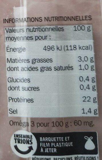 Jambon de Paris -25% de sel - Voedingswaarden - fr