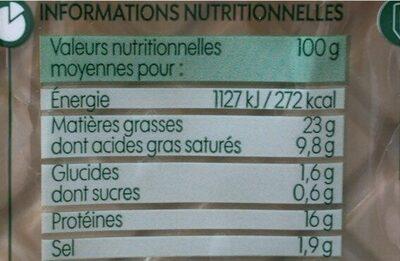 Merguez bio x5 - Voedingswaarden