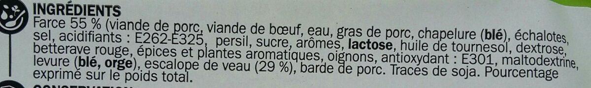 Paupiettes de veau x 3 - Ingredients