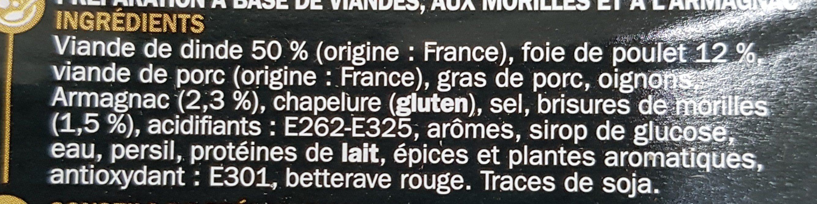 Farce fine de volaille aux morilles et à l'armagnac - Ingrédients - fr
