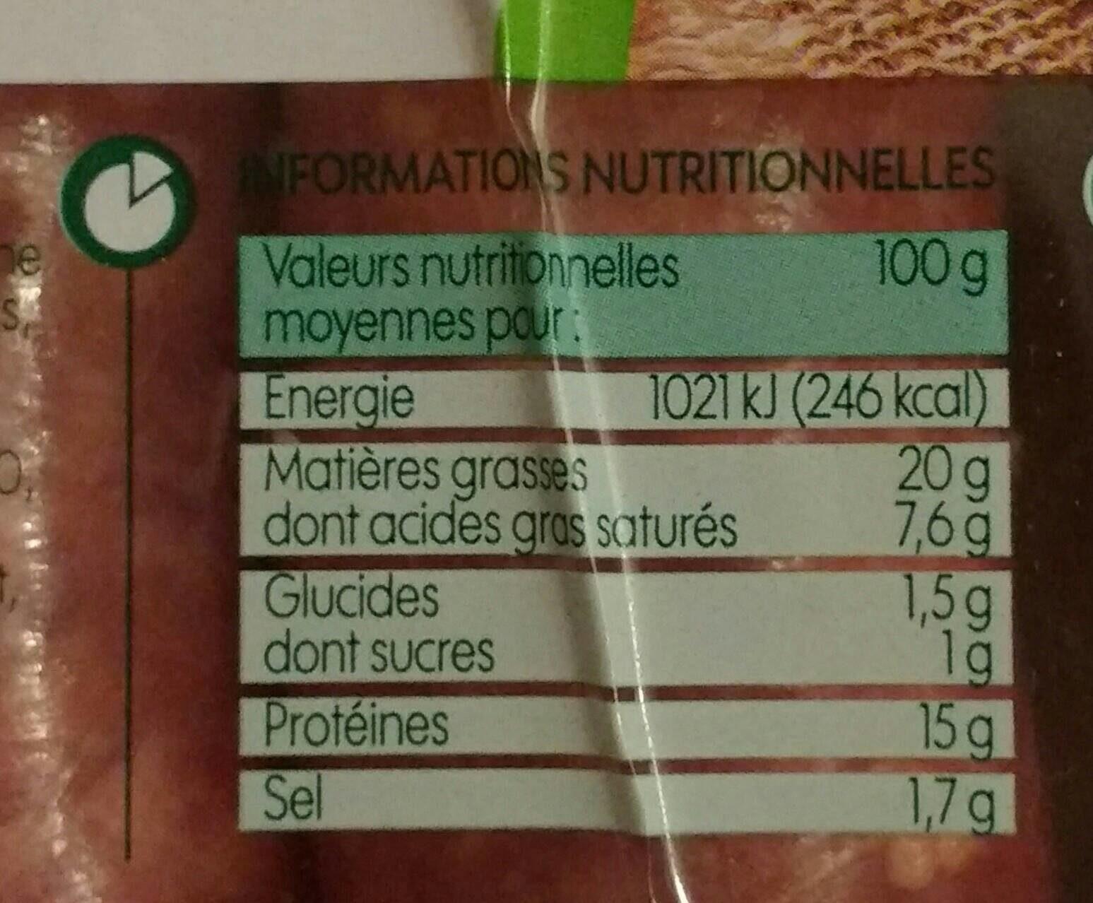 Saucisse de Toulouse bio x3 - Informations nutritionnelles - fr