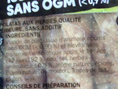 Chipolatas aux herbes sans antibiotiques et sans OGM x 6 - Ingrediënten - fr