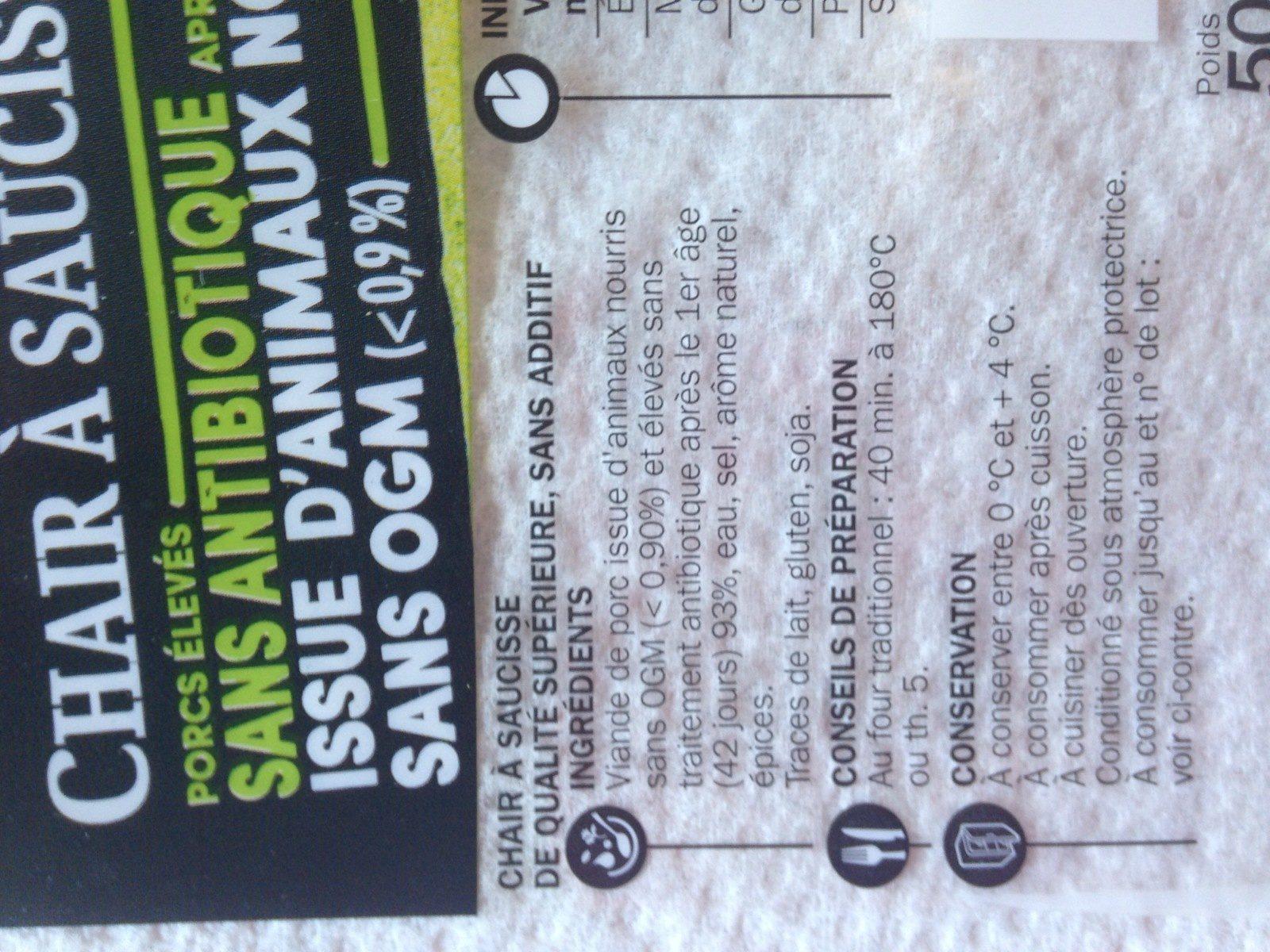 Chair à saucisses sans antibiotiques et sans OGM - Ingrédients