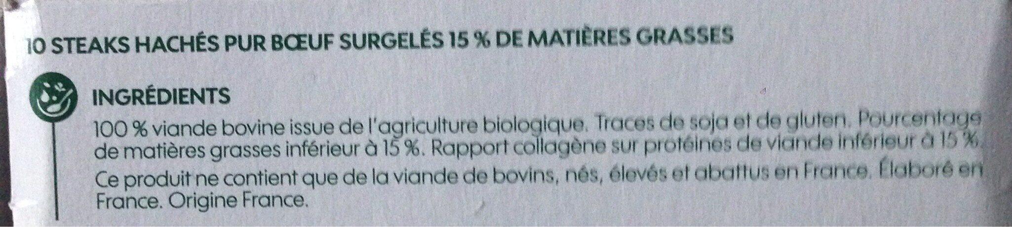 Steak hache surg bio 15%mg x10 - Ingrediënten