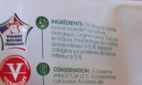 Viande hachée bio 15% Mat. Gr. - Nutrition facts - fr