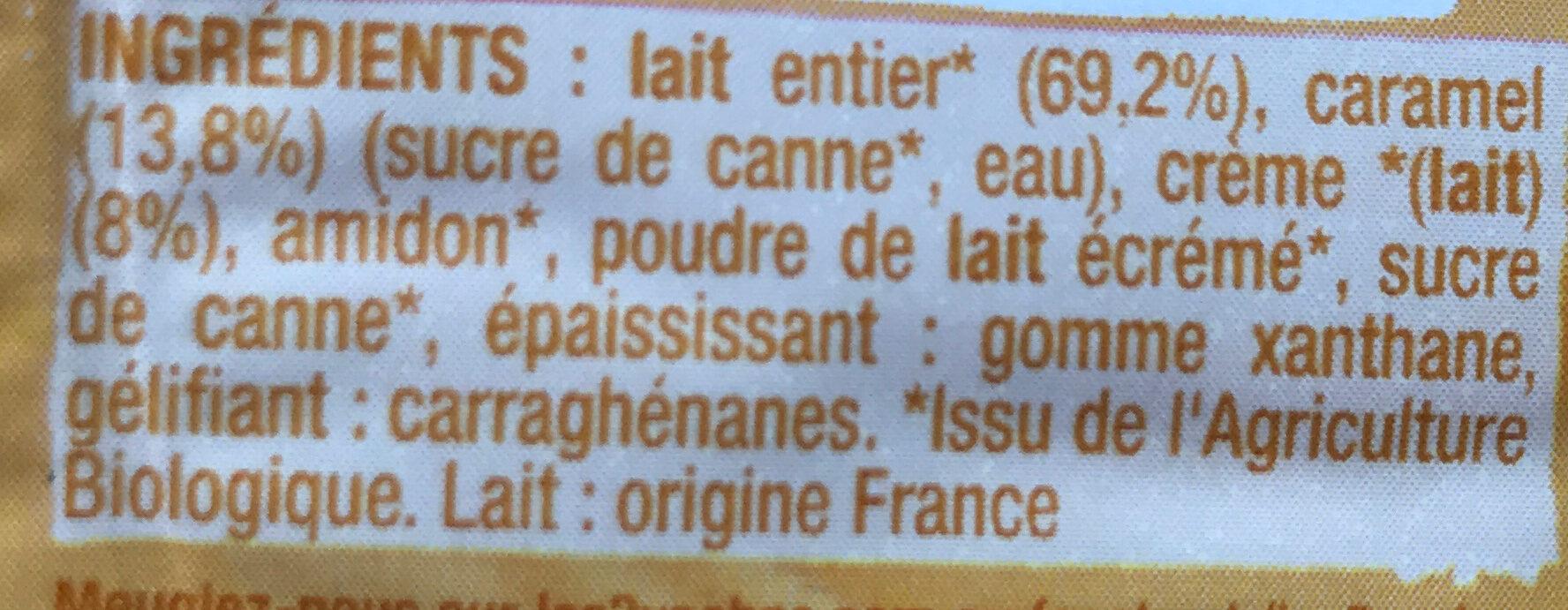 Crème dessert bio au caramel - Ingrédients - fr