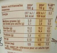 Les 2 vaches Vanille de Madagascar - Nutrition facts - fr