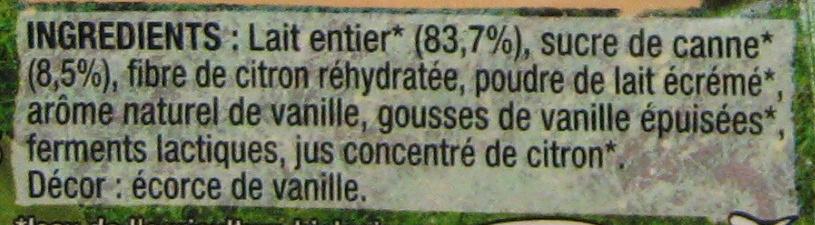 Yaourt Vanille de Madagascar - Ingredients - fr
