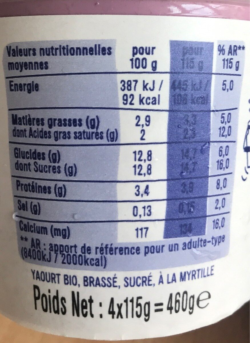 Yaourt saveur myrtille sauvage - Nutrition facts - fr