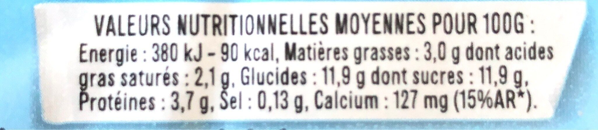 LES 2 VACHES BRASSE FRAMBOISE DELICATE 115 G X 4 - Valori nutrizionali - fr