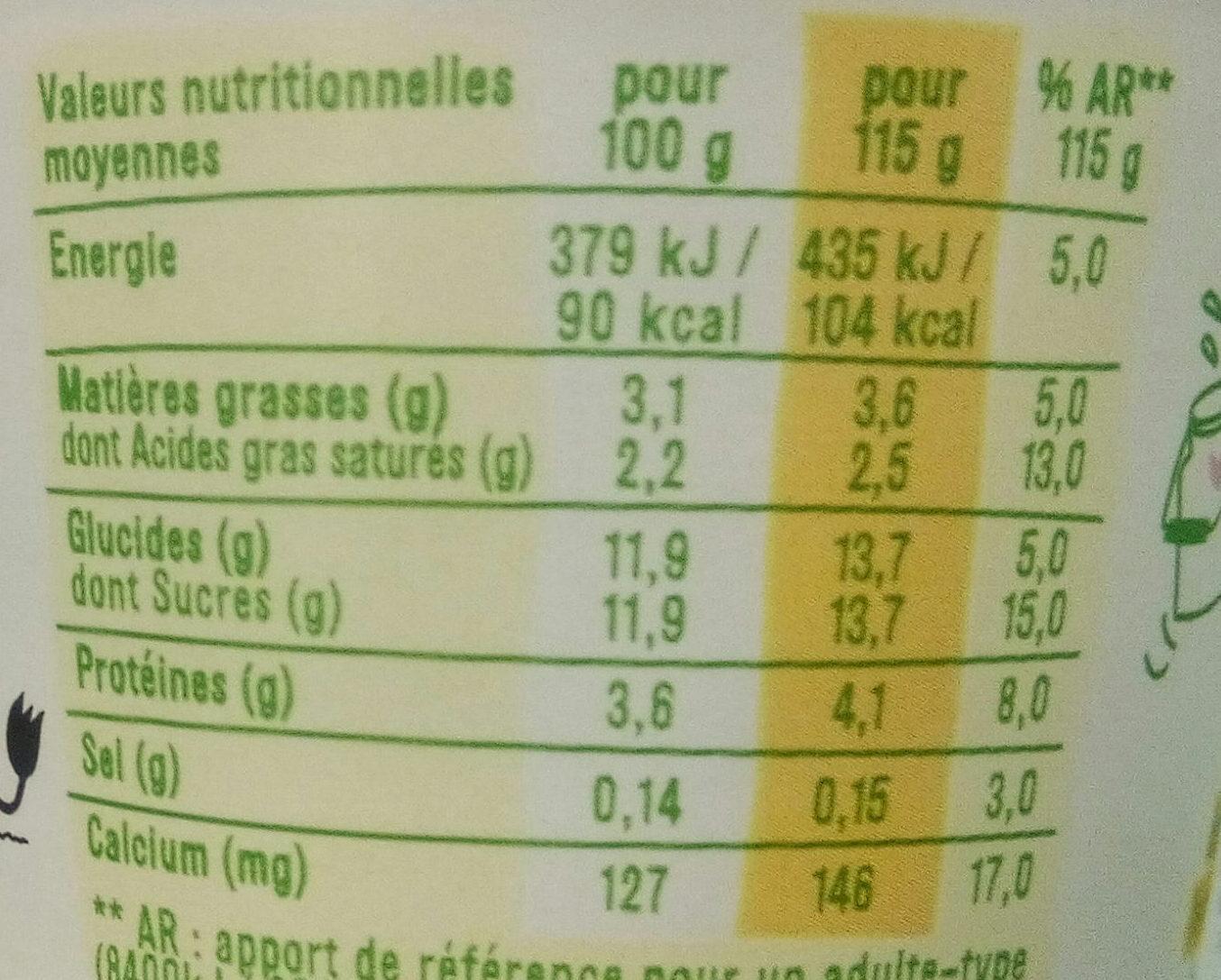 Les 2 vaches au jus de citron - Informations nutritionnelles