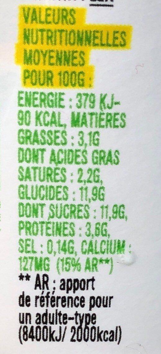 Les 2 Vaches🐮🐄 Brassé Jus de Citron🍋115Gx4 - Informations nutritionnelles - fr